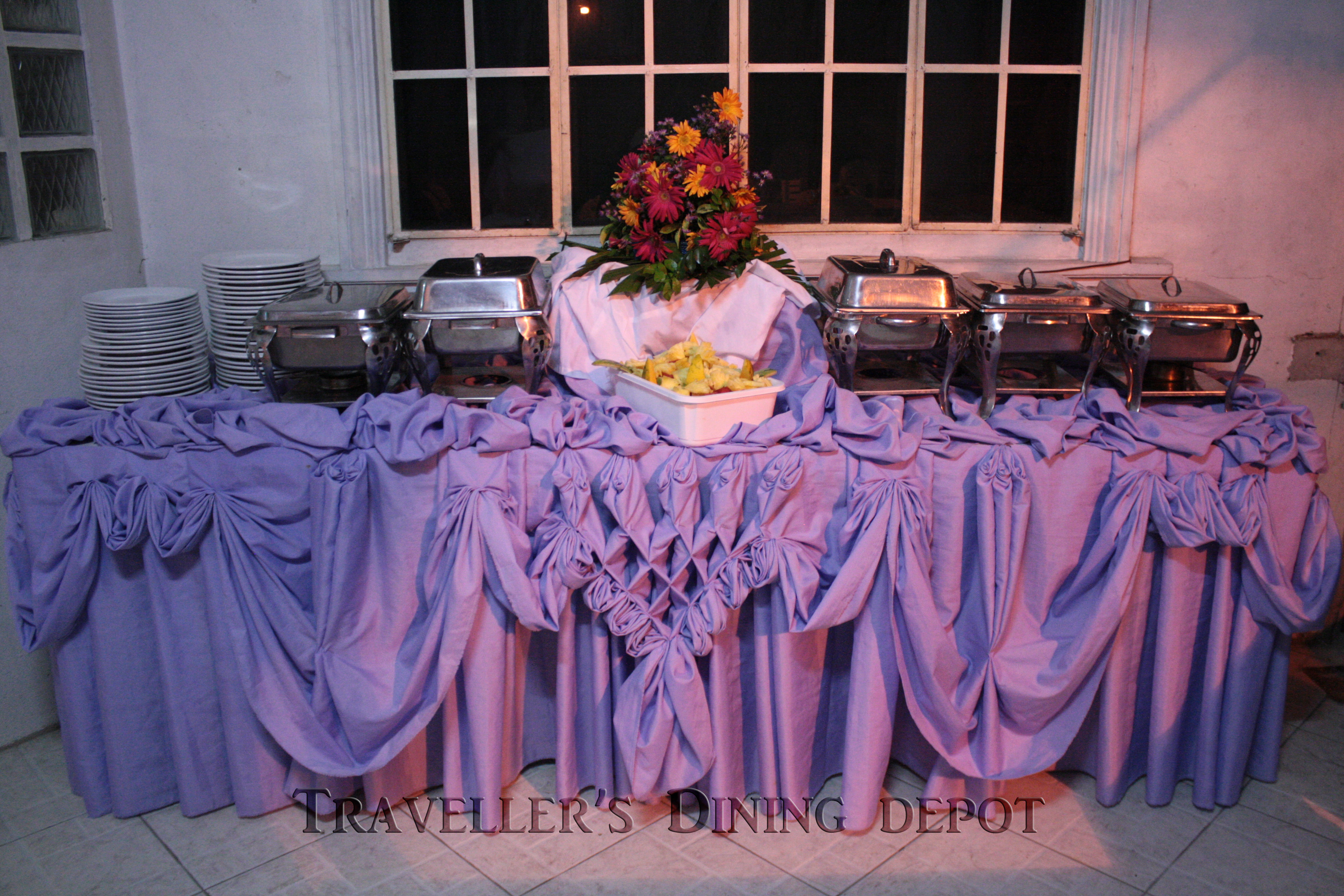 Buffet table skirting - Buffet Table In Purple Skirting